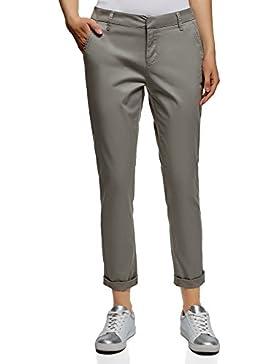 oodji Ultra Mujer Pantalones Chinos de Algodón