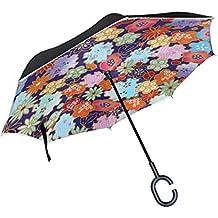 SKYDA Paraguas invertido Doble Capa, Paraguas de Papel japonés para Origami, Resistente al Viento