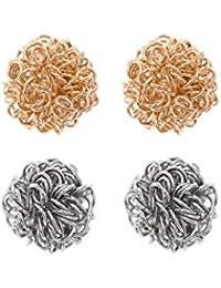 Córdoba Jewels |Set de pendientes en plata de Ley 925. Diseño Set de Pendientes Esferas Bicolors Plata