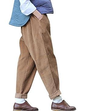 Youlee Mujer Cintura Elástica Pana Pantalones con Bolsillos