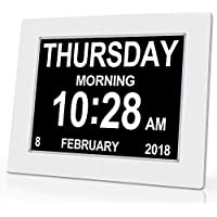 SINOIDEAS Calendar Memory Loss Day Clock with Digital Photo Frame, Extra Large Non-Abbreviated Day & Month for Seniors Visually Impaired Blinds Elderly Alzheimer, White, 8