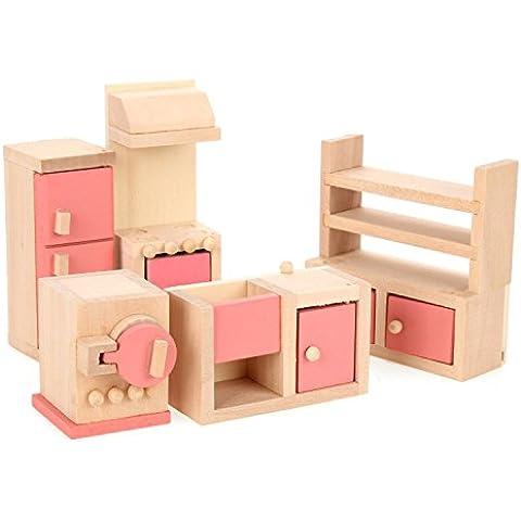 1/12 Dollhouse Mínimos Un Conjunto De Mueble De Cocina De Madera