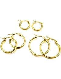 Acero Inoxidable Pendientes Conjunto - SODIAL(R)3 pares 15mm 20mm 25mm Acero Inoxidable Aro Hoop Huggie Pendientes Conjunto Mujer Oro
