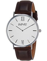 August Steiner AS8166SSBR - Reloj de cuarzo para hombre, esfera analógica plateada y correa de piel de color marrón