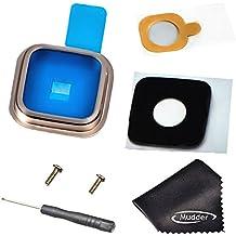 Mudder 7-en-1 Reemplazo de Accesorios para Samsung Galaxy S5, Lente de Cristal de Cámara Posterior de Nuevo + Funda de Metal Anillo de oro + Adhesivo + 2 PC Tornillo + Destornillador + Paño de Limpieza