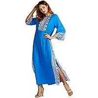 Luckycat Moda Musulmana Estilo étnico de Las Mujeres de impresión de Manga Larga Fiesta Maxi Vestido Largo túnica