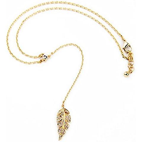 Lares Domi Vintage tono dorado Cristal incrustados elegante estilo art nouveau hojas Y-Collare