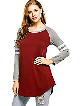 OverDose camisetas blusas O-cuello manga larga para mujer tapas del otoño