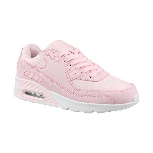 Elara Damen Herren Sneaker Sport Laufschuhe Turnschuhe Chunkyrayan H022-Pink-37