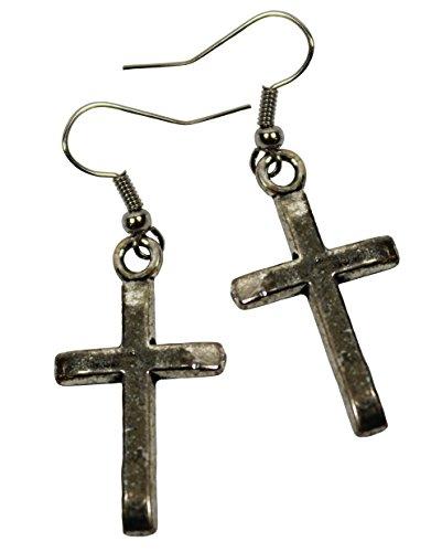 Simple Cross Charm Earrings. Steel Earwires.