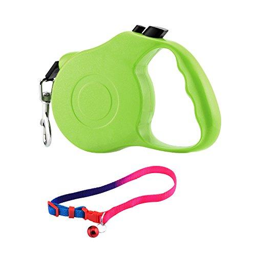 Einziehbare Hundeleine + Hundehalsband, Farbband Blei für Training, Hinterhof Gebrauch und Gehen Hunde (3M, Grün) -