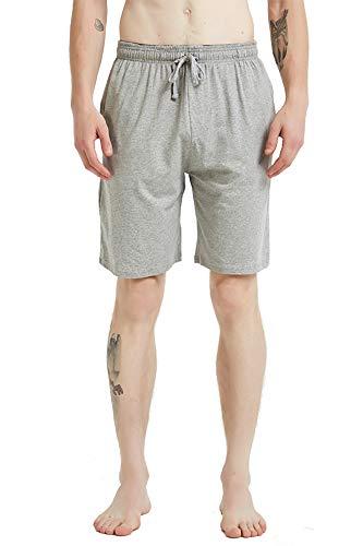 JINSHI Herren Pyjamahose Baumwolle Kurze Schlafhose Shorts Freizeithose mit Taschen Grau 2XL/3XL(US XL)