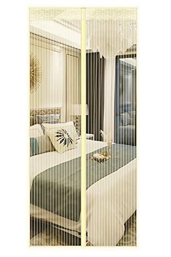 Qemsele zanzariera magnetica per porte, rete di ottima tenda attrezzi per porta zanzariera magnetica 90 x 210cm, magneti e velcro resistente traspirante per porta finestra (100 x 210 cm, beige)