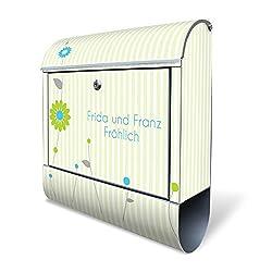 Banjado Design Briefkasten personalisiert mit Motiv WT Zarte Blumen | Stahl pulverbeschichtet mit Zeitungsrolle | Größe 39x47x14cm, 2 Schlüssel, A4 Einwurf, inkl. Montagematerial