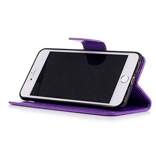 Crisant 3D Blumenschmetterling Drucken Design schutzhülle für Apple iPhone 7 Plus 5.5'',PU Leder Wallet Handytasche Flip Case Cover Etui Schutz Tasche mit Integrierten Card Kartensteckplätzen und Stän lila