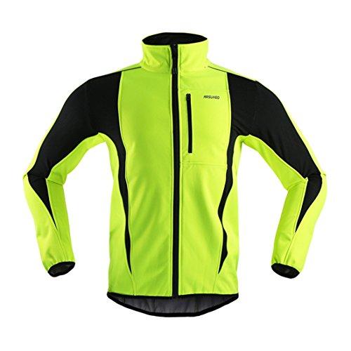 GWELL Herren Fahrradjacke Wasserdicht Winddicht Winter Herbst Softhelljacke mit warm Fleece-Innenfutter Visible reflektierend gelb 2XL