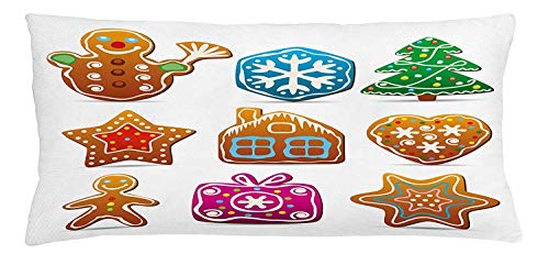 Gingerbread Man Throw Pillow Cushion Cover, Gingerbread Cookies in Cartoon Style Delicious Looking Pastries Xmas Taste, Decorative Square Accent Pillow Case, 18 X 18 Inches