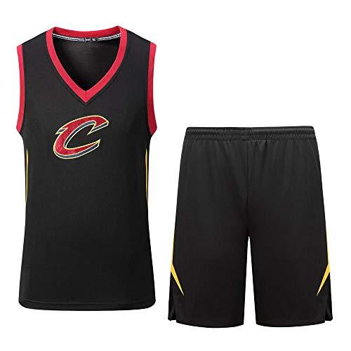 QILAI NBA Trikot Herren Ritter-Trikot mit V-Ausschnitt, Stickerei, großes C-Trikot Sommer atmungsaktives Sweatshirt Shirt Black-XXXL -