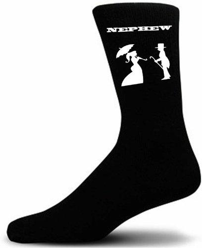 Victorian Bride And Groom Figure Black Wedding Socks - Nephew (Adult)