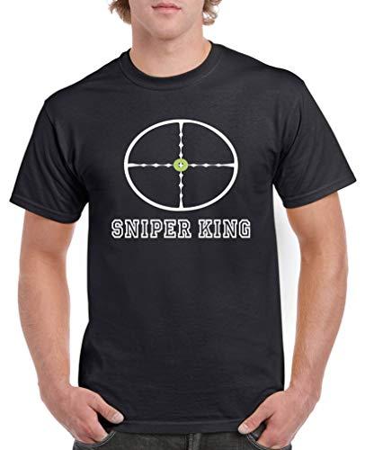 Comedy Shirts - Sniper King - Herren T-Shirt - Schwarz/Weiss-Grün Gr. XL -