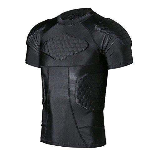 dgyao ® mens körper safe guard gepolstert - t - shirt short rib brustschutz für rugby football oder basketball spielenHockey (Basketball Shirt Gepolsterte)