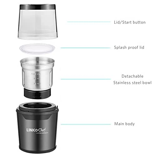 Coffee Grinder LINKChef Electric Coffee & Spice Grinder 300W with 60g Large Capacity Detachable Stainless Steel Bowl…