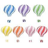 Hangnuo 7PCS Mongolfiera lampade Lanterne di Carta da Appendere Ghirlanda Decorazioni Color Stripe