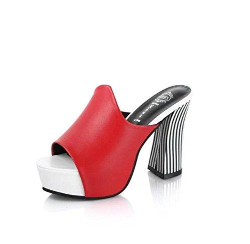sandali e ciabatte Sandali con tacco europei e americani crosta spessa grossa testa di pesce impermeabile con i tacchi alti sandali di modo delle donne Red