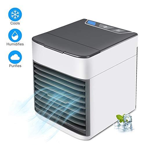 3 in 1 Mini Air Cooler, Luftkühler, Klimaanlage, Luftbefeuchter, Luftreiniger, tragbarer Lüfter mit 3 Geschwindigkeiten und 7-Farben-Nachtlicht & USB-Aufladung, leise und kompakt