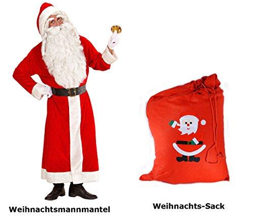 (Scherzwelt Santa Claus Kostüm XL - Weihnachtsmann - Nikolaus SAMT Delux + roter Sack Weihnachten)