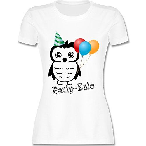 f6204929cb7214 Eulen, Füchse Co PartyEule tailliertes Premium TShirt mit  Rundhalsausschnitt für Damen Weiß Eulen