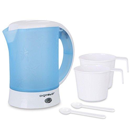 Aigostar Walking Drip 30JQK - Reisewasserkocher Integrated Design 650W, 0,6 Liter Mini Wassertopf, automatische Abschaltung mit Kochschutz, BPA-frei, Inklusive 2 Tassen und 2 Löffel, blau. Exklusives Design. (Wasserkocher Eine Tasse)