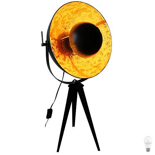 Steh Lampe Lounge Beleuchtung schwenkbar Spot Stativ Scheinwerfer Gold im Set inkl. LED Leuchtmittel