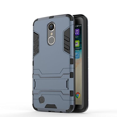 YHUISEN LG LV3 Case, 2 In 1 Iron Armour Tough Style Hybrid Dual Layer Armor Defender PC + TPU Schutzhülle mit Stand Shockproof Case für LG LV3 / Aristo / MS210 / K8 2017 ( Color : Gray ) Blue Black
