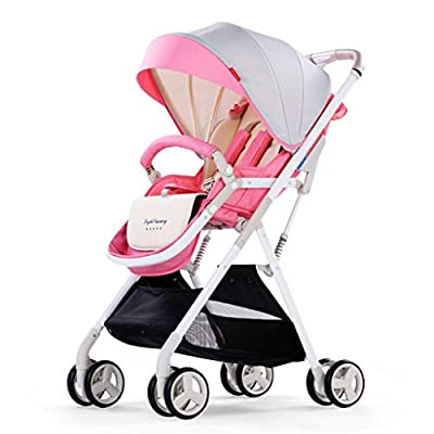 Baby carriage ☝YEC Folding Stroller, With Cup Holder Mosquito Net Cotton Pad Storage Basket Pram (color : PINK)