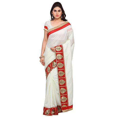 Blissta White Banarasi Silk Embellished saree