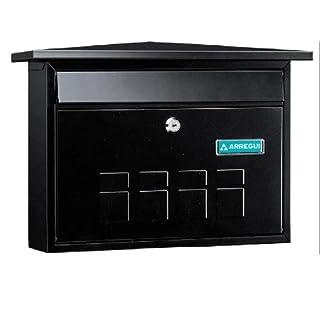 ARREGUI Decorative Post Box Wall mounted Outside Steel Mail Box Stylish A4–Magazine size? High Quality Black