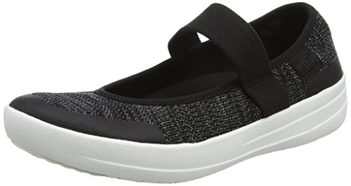 Stricken Mary Janes (FitFlop Damen Uberknit Mary Jane Halbschuhe, Schwarz (Black/Soft Grey 546), 38 EU)