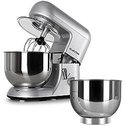 Klarstein Bella Argentea Set complet (robot de cuisine réglable en 6 niveaux, deux récipients de 5,2 litres en acier inoxydable) - argenté