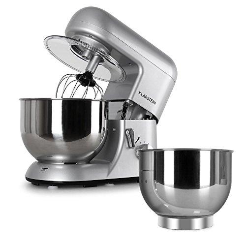 Klarstein Bella Argentea Komplettset Küchenmaschine + Zusatzschüssel (1200 Watt Leistung, 6 Geschwindigkeiten, 5,2 Liter Edelstahl-Schüssel, Rühr- und Knethaken, Schneebesen) silber