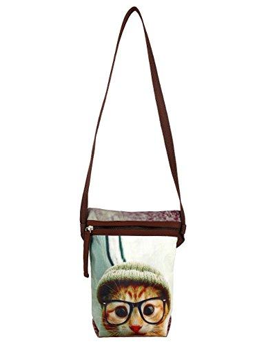 impression numérique, visage de chat chatte, pochettes animaux stachel, 8x10x2.5 pouces, polyester, ast01-6