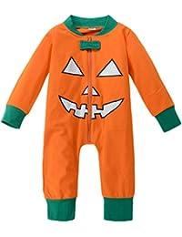 Bom Bom Bebe Ninos Ninas Halloween Calabaza Pelele Manga Larga