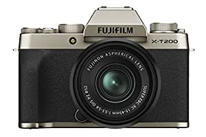 "Fujifilm X-T200 24.2 MP Mirrorless Camera with XC 15-45 mm Lens (APS-C Sensor, Electronic Viewfinder, 3.5"" Vari-Angle Touchscreen, Face/Eye AF, 4K Video Vlogging, Film Simulations) - Champagne Gold"