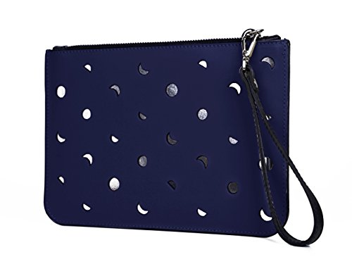 Clutch Luna Wristletbag aus echtem Leder | Made in Italy | Farbauswahl Blau