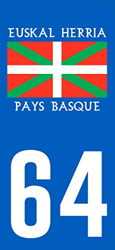 2-Stickers-style-Plaque-Immatriculation-Drapeau-Pays-Basque-64