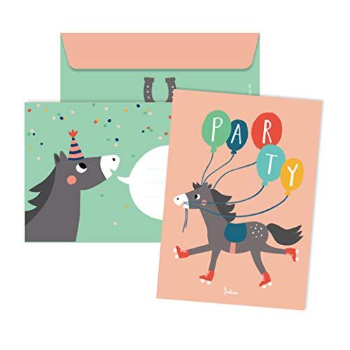 JulicaDesign Einladungskarten Pferde Geburtstag | 6 Karten mit Umschlag | Kindergeburtstag Pferd