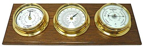 Tabic - Reloj de Marea de latón, barómetro Tradicional, termómetro montado en un Soporte de Roble...