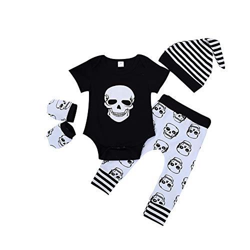 Gfjhgkyu Breathable und Soft Skull Infant Baby Kurzarm Strampler Hosen Handschuhe Streifen Hut Halloween Outfit 80cm(6-12M)