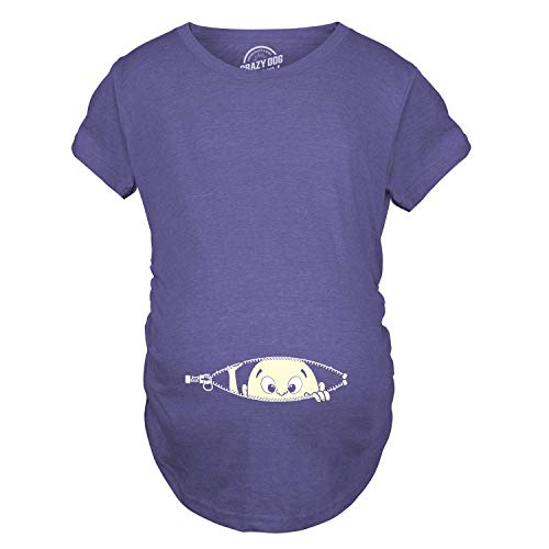 Maternity Baby Peeking T Shirt Funny Pregnancy Tee for Expecting Mothers (Heather Purple) -S