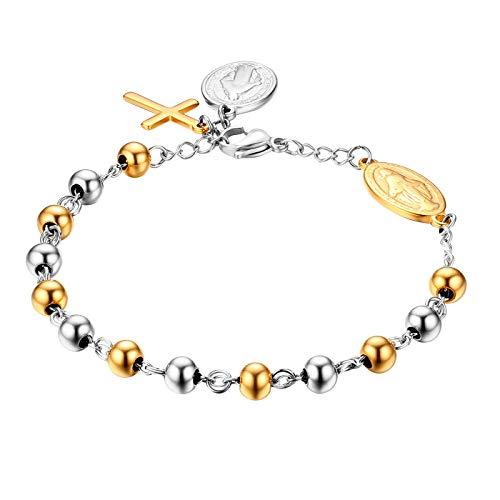 JewelryWe Schmuck Rosenkranz Armband Edelstahl Jungfrau Maria Katholischen Heiligen Gottes Mutter Kreuz Anhänger Perle Kugelkette Armreif Armkette für Herren Damen Silber Gold